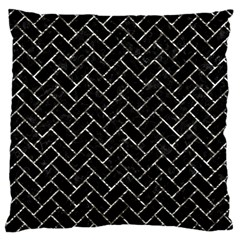 Brick2 Black Marble & Silver Foil (r) Large Cushion Case (two Sides) by trendistuff
