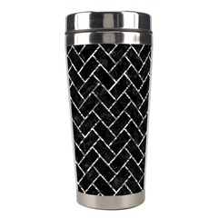 Brick2 Black Marble & Silver Foil (r) Stainless Steel Travel Tumblers by trendistuff