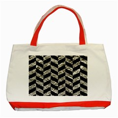 Chevron1 Black Marble & Silver Foil Classic Tote Bag (red) by trendistuff