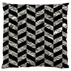 Chevron1 Black Marble & Silver Foil Large Cushion Case (one Side) by trendistuff