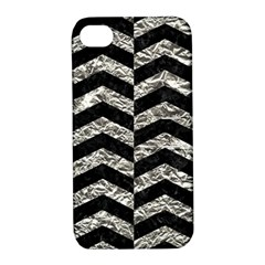 Chevron2 Black Marble & Silver Foil Apple Iphone 4/4s Hardshell Case With Stand by trendistuff