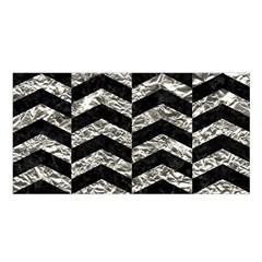 Chevron2 Black Marble & Silver Foil Satin Shawl by trendistuff