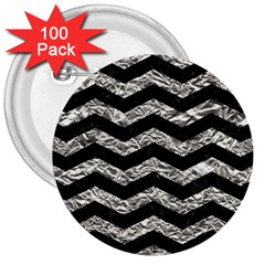 Chevron3 Black Marble & Silver Foil 3  Buttons (100 Pack)  by trendistuff