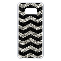Chevron3 Black Marble & Silver Foil Samsung Galaxy S8 Plus White Seamless Case by trendistuff