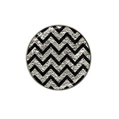 Chevron9 Black Marble & Silver Foil Hat Clip Ball Marker (10 Pack) by trendistuff