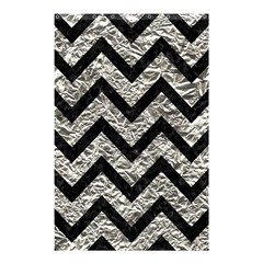 Chevron9 Black Marble & Silver Foil Shower Curtain 48  X 72  (small)  by trendistuff