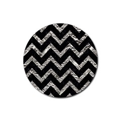 Chevron9 Black Marble & Silver Foil (r) Rubber Round Coaster (4 Pack)