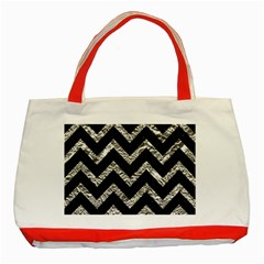 Chevron9 Black Marble & Silver Foil (r) Classic Tote Bag (red) by trendistuff