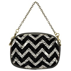 Chevron9 Black Marble & Silver Foil (r) Chain Purses (two Sides)  by trendistuff