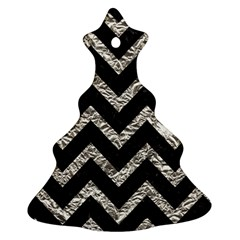 Chevron9 Black Marble & Silver Foil (r) Christmas Tree Ornament (two Sides) by trendistuff