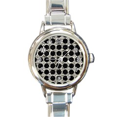 Circles1 Black Marble & Silver Foil Round Italian Charm Watch by trendistuff