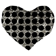 Circles1 Black Marble & Silver Foil Large 19  Premium Flano Heart Shape Cushions by trendistuff