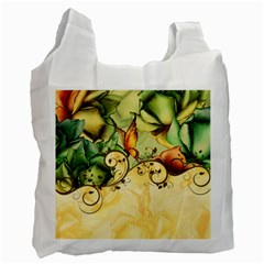 Wonderful Flowers With Butterflies, Colorful Design Recycle Bag (one Side) by FantasyWorld7