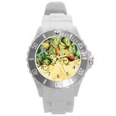Wonderful Flowers With Butterflies, Colorful Design Round Plastic Sport Watch (l) by FantasyWorld7