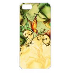 Wonderful Flowers With Butterflies, Colorful Design Apple Iphone 5 Seamless Case (white) by FantasyWorld7