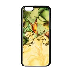 Wonderful Flowers With Butterflies, Colorful Design Apple Iphone 6/6s Black Enamel Case by FantasyWorld7