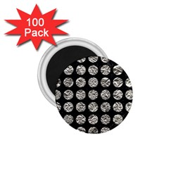 Circles1 Black Marble & Silver Foil (r) 1 75  Magnets (100 Pack)  by trendistuff