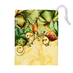 Wonderful Flowers With Butterflies, Colorful Design Drawstring Pouches (extra Large) by FantasyWorld7