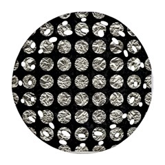 Circles1 Black Marble & Silver Foil (r) Ornament (round Filigree) by trendistuff