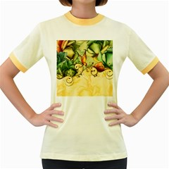 Wonderful Flowers With Butterflies, Colorful Design Women s Fitted Ringer T Shirts by FantasyWorld7