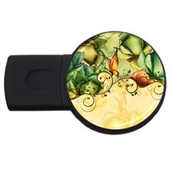 Wonderful Flowers With Butterflies, Colorful Design Usb Flash Drive Round (2 Gb) by FantasyWorld7