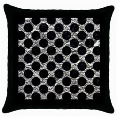 Circles2 Black Marble & Silver Foil Throw Pillow Case (black) by trendistuff