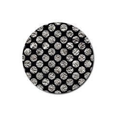 Circles2 Black Marble & Silver Foil (r) Rubber Round Coaster (4 Pack)  by trendistuff