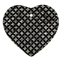 Circles3 Black Marble & Silver Foil Heart Ornament (two Sides) by trendistuff