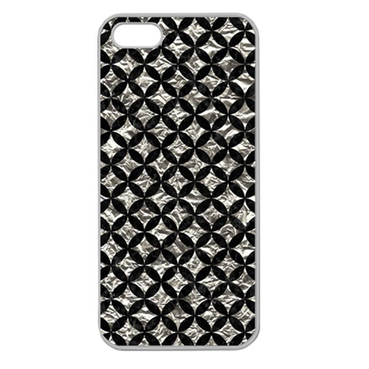 CIRCLES3 BLACK MARBLE & SILVER FOIL Apple Seamless iPhone 5 Case (Clear)