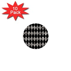 Diamond1 Black Marble & Silver Foil 1  Mini Buttons (10 Pack)  by trendistuff
