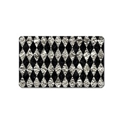 Diamond1 Black Marble & Silver Foil Magnet (name Card) by trendistuff