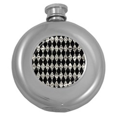 Diamond1 Black Marble & Silver Foil Round Hip Flask (5 Oz) by trendistuff