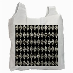 Diamond1 Black Marble & Silver Foil Recycle Bag (one Side) by trendistuff