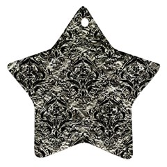 Damask1 Black Marble & Silver Foil Star Ornament (two Sides)