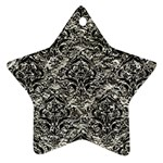 DAMASK1 BLACK MARBLE & SILVER FOIL Star Ornament (Two Sides) Front