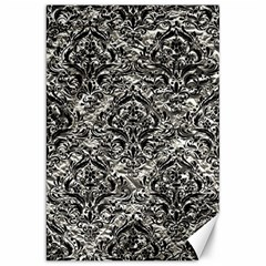 Damask1 Black Marble & Silver Foil Canvas 20  X 30   by trendistuff