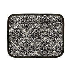 Damask1 Black Marble & Silver Foil Netbook Case (small)  by trendistuff