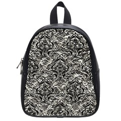 Damask1 Black Marble & Silver Foil School Bag (small) by trendistuff