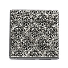 Damask1 Black Marble & Silver Foil Memory Card Reader (square) by trendistuff