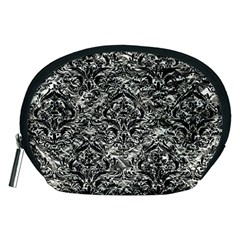 Damask1 Black Marble & Silver Foil Accessory Pouches (medium)  by trendistuff