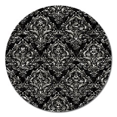 Damask1 Black Marble & Silver Foil (r) Magnet 5  (round) by trendistuff