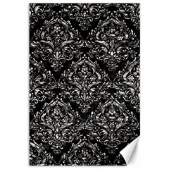 Damask1 Black Marble & Silver Foil (r) Canvas 12  X 18   by trendistuff