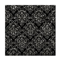 Damask1 Black Marble & Silver Foil (r) Face Towel by trendistuff