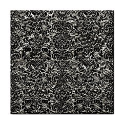 Damask2 Black Marble & Silver Foil Face Towel by trendistuff