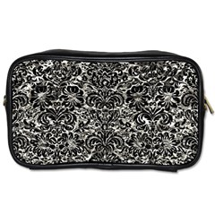 Damask2 Black Marble & Silver Foil Toiletries Bags 2 Side by trendistuff