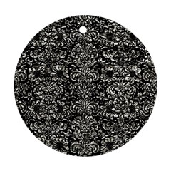 Damask2 Black Marble & Silver Foil (r) Round Ornament (two Sides) by trendistuff
