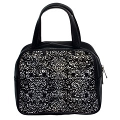 Damask2 Black Marble & Silver Foil (r) Classic Handbags (2 Sides) by trendistuff