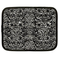 Damask2 Black Marble & Silver Foil (r) Netbook Case (xxl)  by trendistuff
