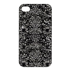 Damask2 Black Marble & Silver Foil (r) Apple Iphone 4/4s Premium Hardshell Case by trendistuff