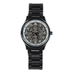 Damask2 Black Marble & Silver Foil (r) Stainless Steel Round Watch by trendistuff